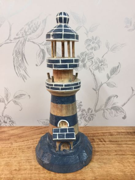 Wooden Blue Lighthouse Hand Carved Nautical Ornament (S)
